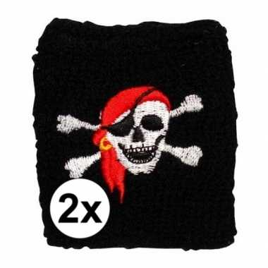 2 stuks piraten pols zweetbandjes