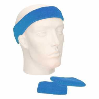 Sportset aqua blauw zweetbandjes