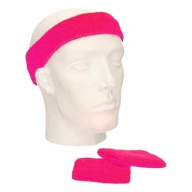 Sportset fuchsia roze zweetbandjes