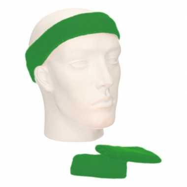 Sportset groene zweetbandjes