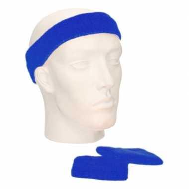 Sportset kobalt blauw zweetbandjes