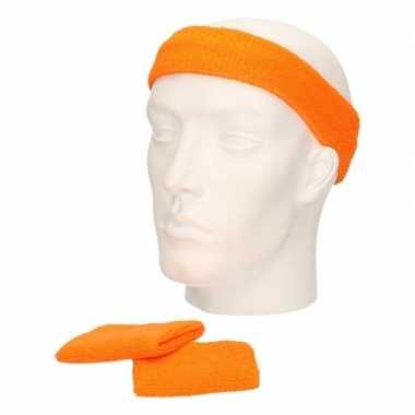 Sportset oranje zweetbandjes