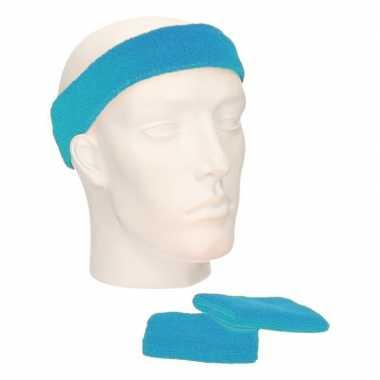 Sportset turquoise blauw zweetbandjes