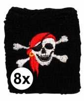 8 stuks piraten pols zweetbandjes